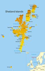 Vector color map of Shetland Islands