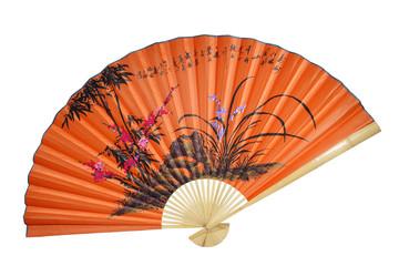 Orange Chinese fan on the white background