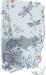 print with butterfly and dragonfly