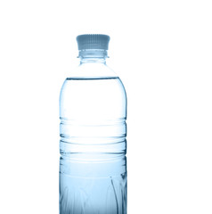 plastic bottle with water isolated on the white background