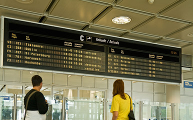 People are waiting for incoming flights