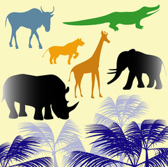 African  animals. Vector.