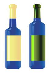 Blue bottles. Vector.