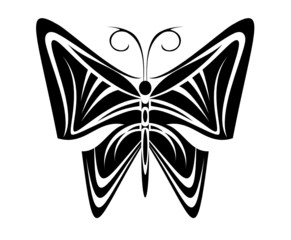 Isolated butterfly tattoo in tribal style