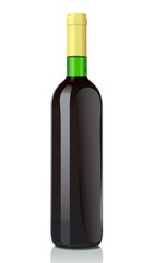 Vector illustration glass bottle with red wine