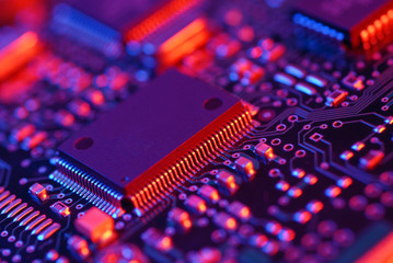 High tech mother board with chip components background