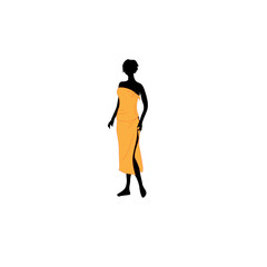 The woman dressed in an orange towel.Vector illustration
