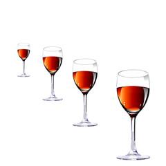 Three glasses with wine.Vector illustration