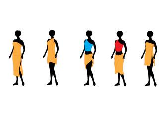 Five women of models dressed in orange towels.Vector