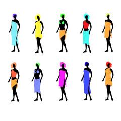 Ten women of models dressed in towels.Vector illustration