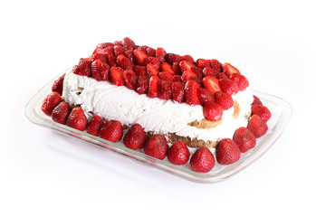 Delicious strawberry cake on plate - isolated image
