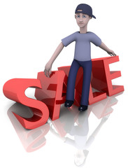 sale red sign / 3d man sitting on top / white blue isolated ad