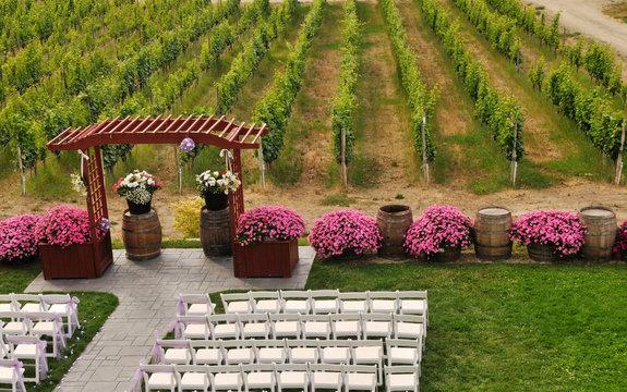 Wedding site in vineyard in Okanagan Valley