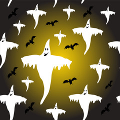 Abstract Halloween Ghosts Background Illustration