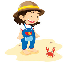 Baby with crab