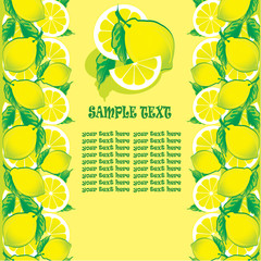 Lemon on a yellow background. Sample text. Healthy food.