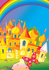 Poster Castle Beautiful palace with a butterfly and rainbow. Fairy-tale.
