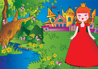 Poster Castle Beautiful princess on the meadow in a red dress. Fairy-tale.