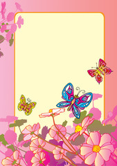 Beautiful flowers with butterflies. Sample text.