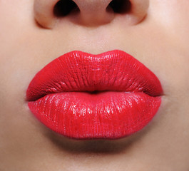 Bright red female lips