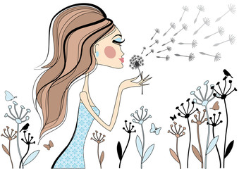 Fashion girl with dandelion, vector