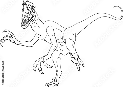 Vector Deinonychus Attacking Isolated On Background Stockfotos