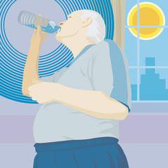 senior trinkt bei hitze