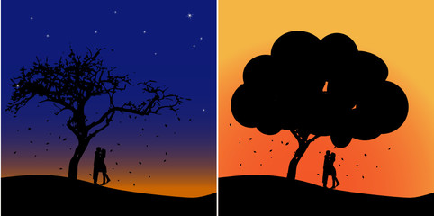 vector illustration of couple under the tree