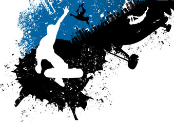 Skateboard freestyle abstract background