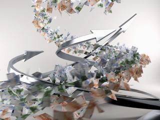 Pfeile Spirale mit Geld #04