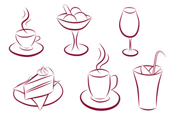 Set of sweet and coffee icons
