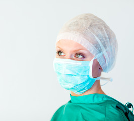 surgeon looking away from camera