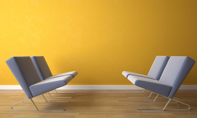 four chair4 on yellow wall