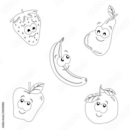 Frutta Allegra Immagine In Bianco E Nero Da Colorare Immagini E