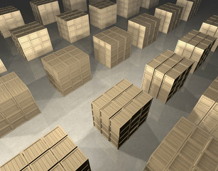 Array of wooden boxes