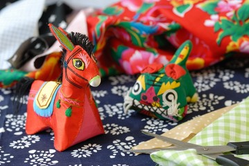 View of Chinese Traditional Cloth-Art --Donkey and Tiger.