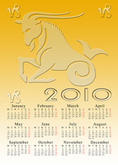 cancer. calendar for the year 2010 with the astrological sign