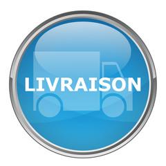 """Bouton rond """"LIVRAISON"""" (vecteur ; bleu)"""