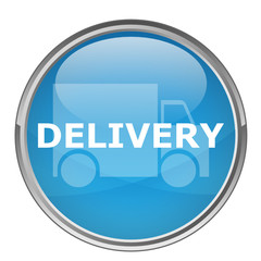 "Circular ""DELIVERY"" button (vector; blue)"