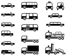 Cars and trucks - set of vector icons