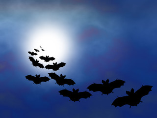 bats in flight with a full moon. background  for Halloween