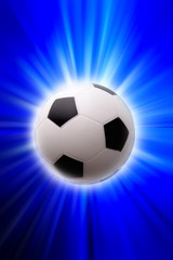 Football over blue and white background
