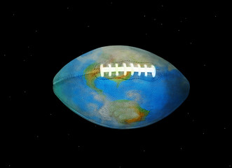 Football Earth in Space