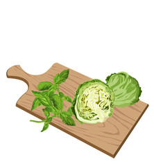 Greens on cutting board