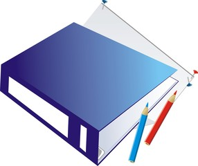 Folder-binder and pencils. Vector