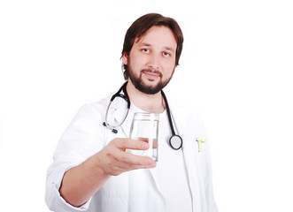 Young male doctor advicing healthy natural water