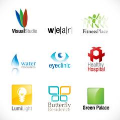set of nine unique logotypes