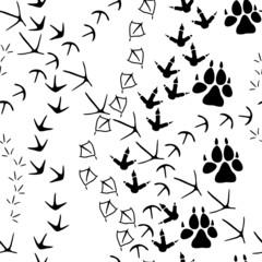 Seamless pattern with animal paw tracks