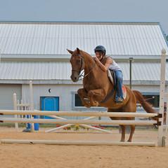 Teen girl jumping a horse over rails.