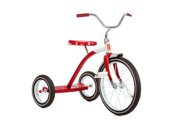 Aluminium Prints Bicycle Red Tricycle on White